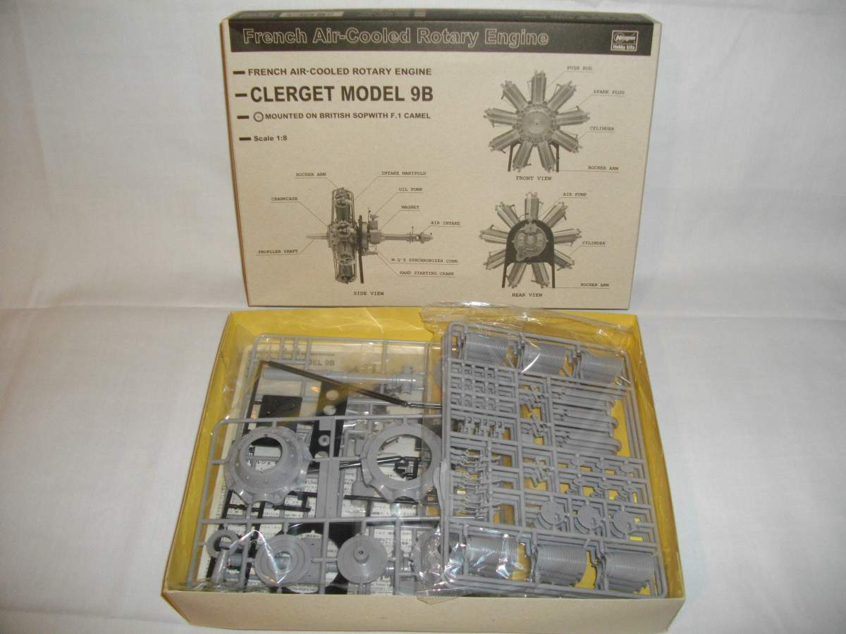 Clerget 9B Rotary Engine. 1/8th. Hasagawa.-box-001-jpg