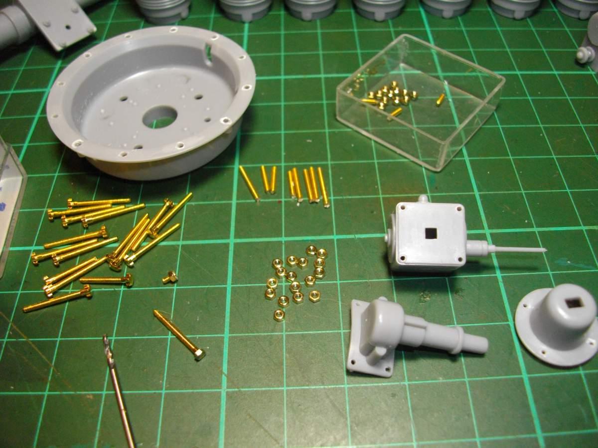 Clerget 9B Rotary Engine. 1/8th. Hasagawa.-preparing-nuts-bolts-002-jpg