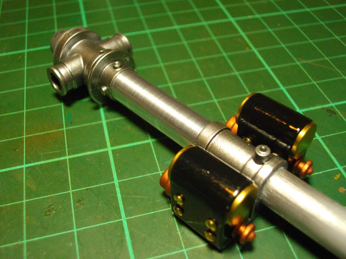 Clerget 9B Rotary Engine. 1/8th. Hasagawa.-magnetos-mounted-main-shaft-003-jpg