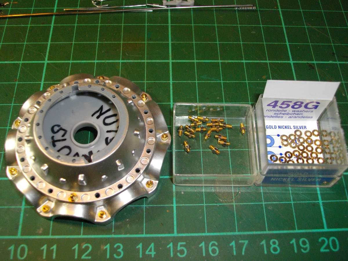 Clerget 9B Rotary Engine. 1/8th. Hasagawa.-crank-nuts-bolts-001-jpg
