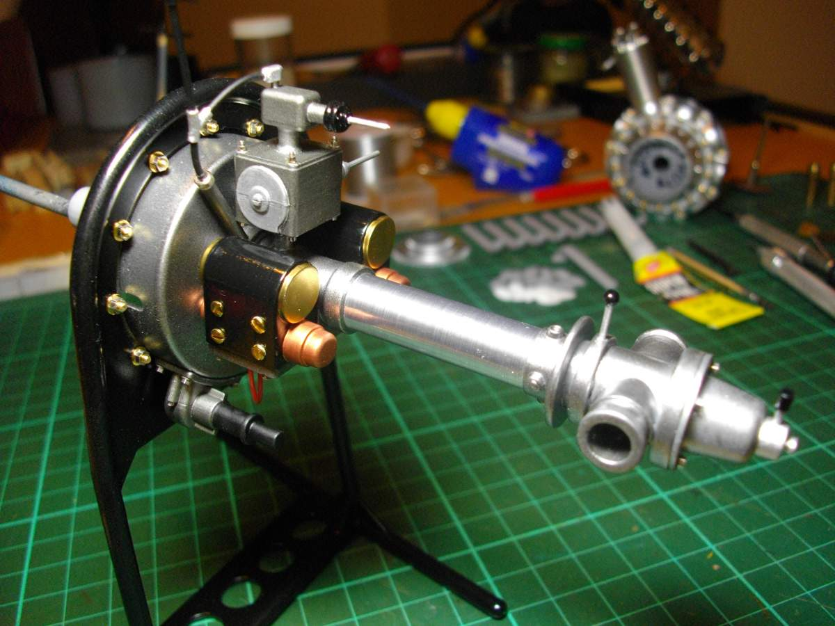 Clerget 9B Rotary Engine. 1/8th. Hasagawa.-rear-section-finished-004-jpg