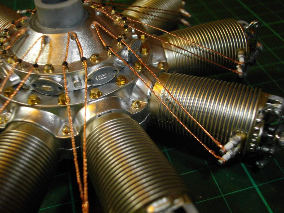 Clerget 9B Rotary Engine. 1/8th. Hasagawa.-cylinders-spark-plug-wires-attached-021-jpg