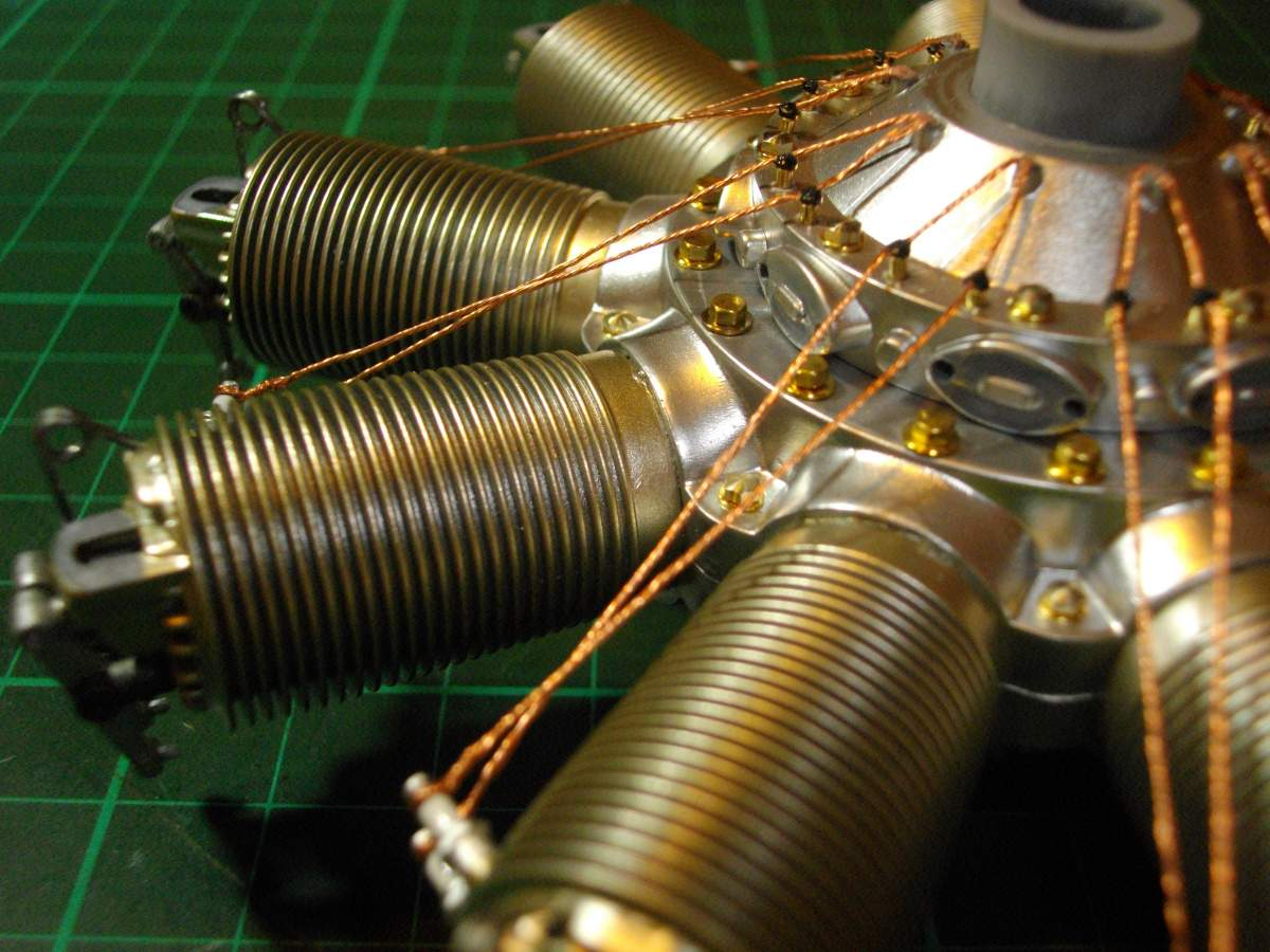 Clerget 9B Rotary Engine. 1/8th. Hasagawa.-cylinders-spark-plug-wires-attached-022-jpg