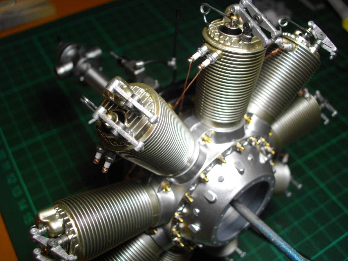Clerget 9B Rotary Engine. 1/8th. Hasagawa.-time-stand-008-jpg