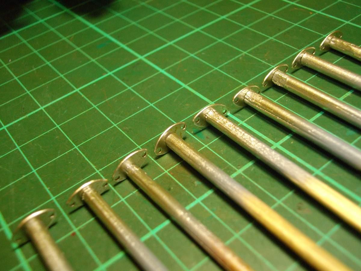 Clerget 9B Rotary Engine. 1/8th. Hasagawa.-intake-flanges-titanium-gold-silver-base-coat-003-jpg