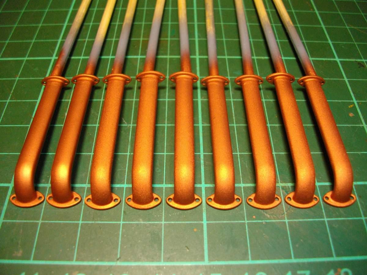 Clerget 9B Rotary Engine. 1/8th. Hasagawa.-intake-tubes-metalcolor-copper-001-jpg
