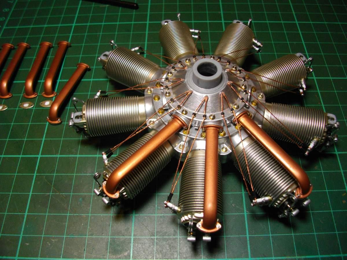 Clerget 9B Rotary Engine. 1/8th. Hasagawa.-3-intake-tubes-fitted-002-jpg