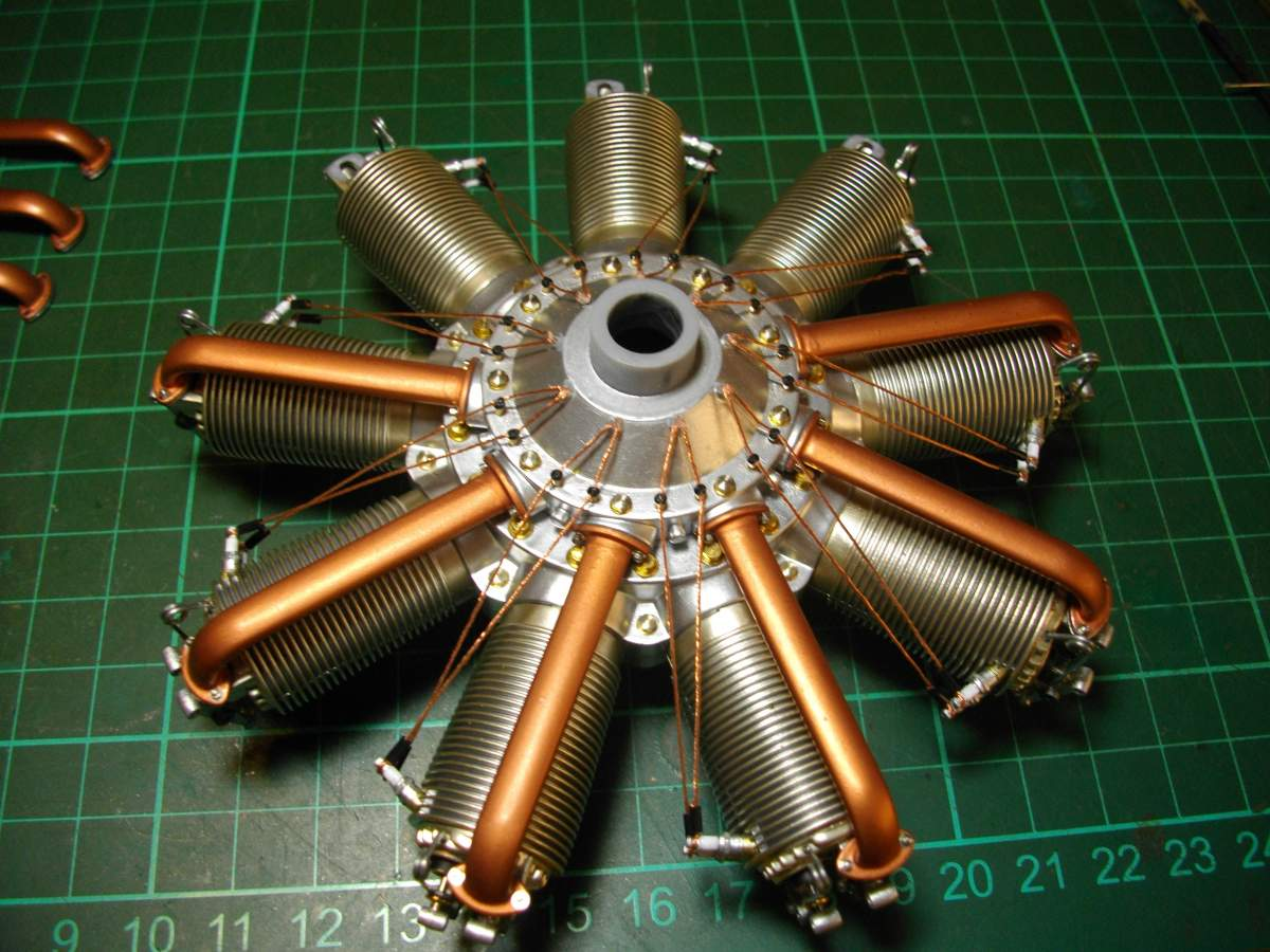 Clerget 9B Rotary Engine. 1/8th. Hasagawa.-6-intake-tubes-fitted-001-jpg
