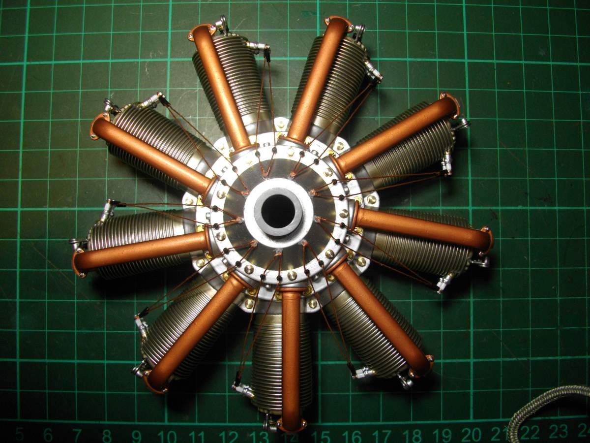 Clerget 9B Rotary Engine. 1/8th. Hasagawa.-9-intake-tubes-fitted-003-jpg