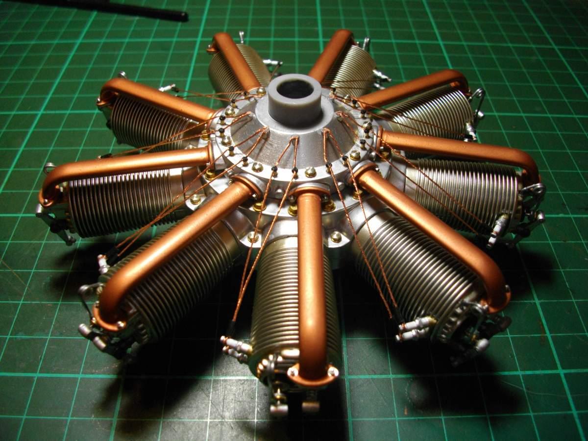 Clerget 9B Rotary Engine. 1/8th. Hasagawa.-9-intake-tubes-fitted-004-jpg