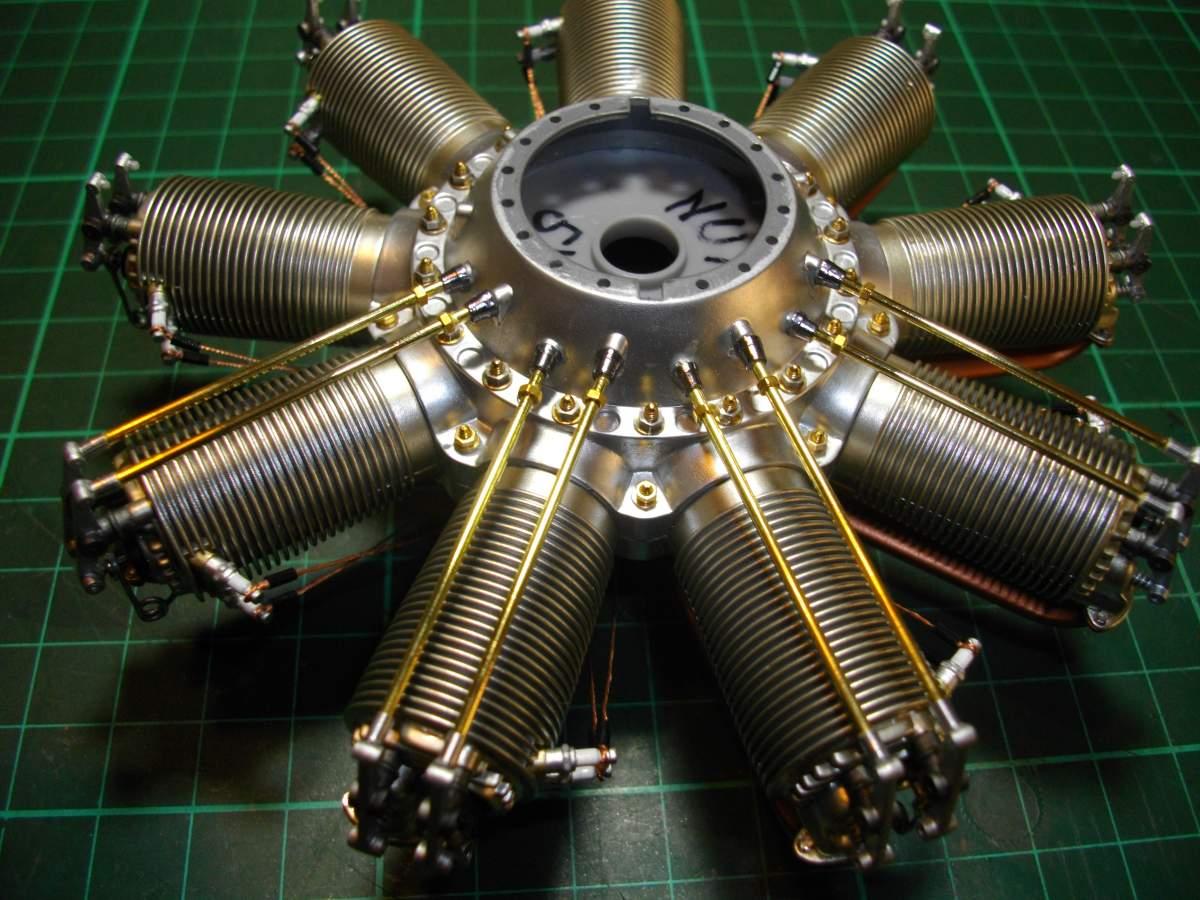 Clerget 9B Rotary Engine. 1/8th. Hasagawa.-4-pairs-push-rods-installed-001-jpg