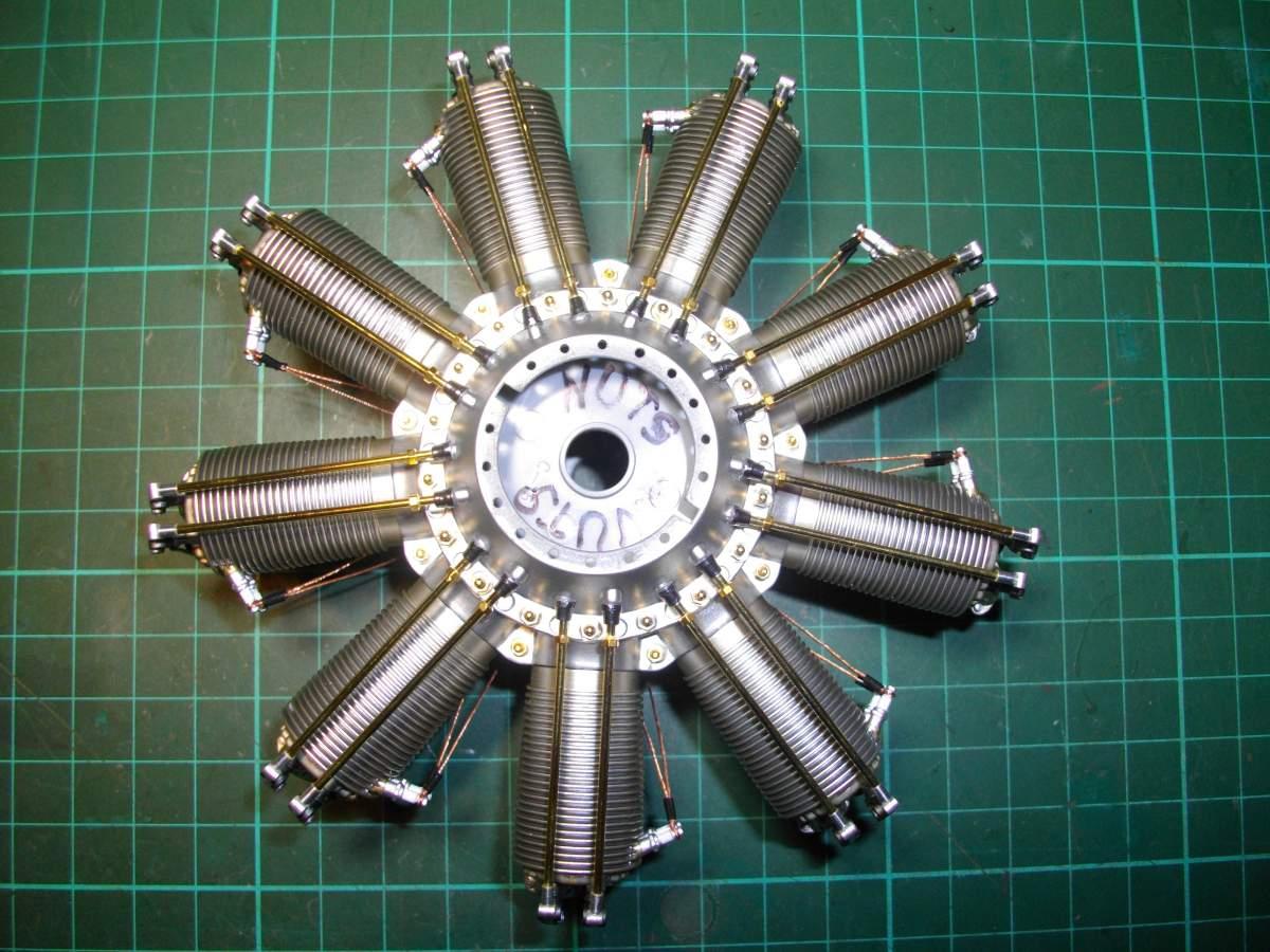 Clerget 9B Rotary Engine. 1/8th. Hasagawa.-push-rods-installed-001-jpg