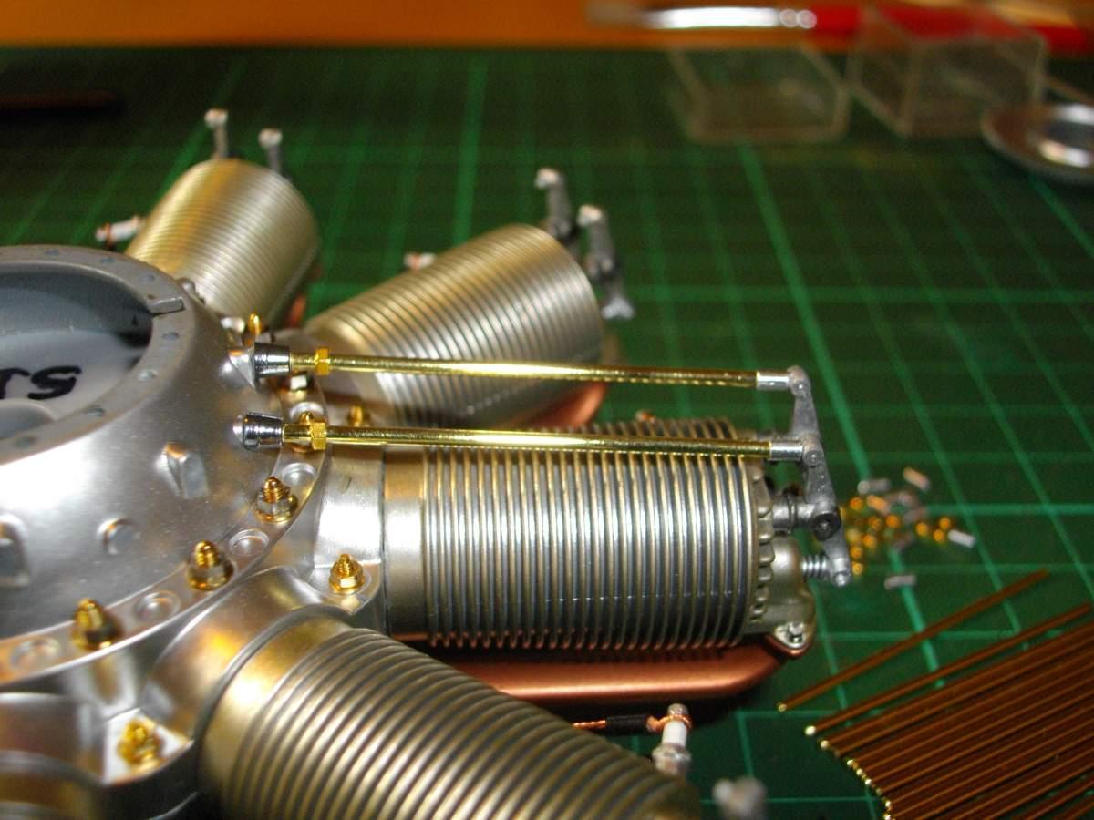 Clerget 9B Rotary Engine. 1/8th. Hasagawa.-2-push-rods-installed-002-jpg