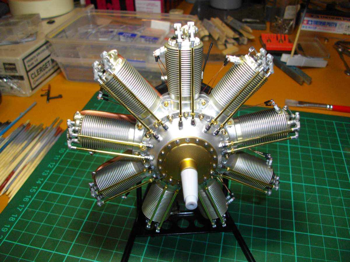 Clerget 9B Rotary Engine. 1/8th. Hasagawa.-finished-001-jpg