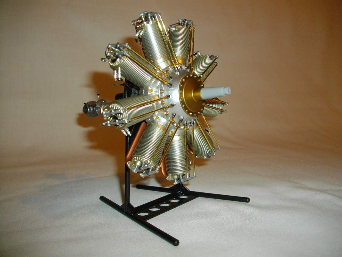 Clerget 9B Rotary Engine. 1/8th. Hasagawa.-complete-engine-001-jpg
