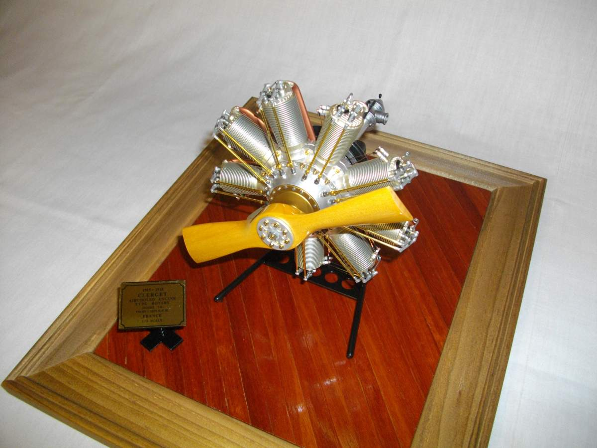 Clerget 9B Rotary Engine. 1/8th. Hasagawa.-engine-finished-002-jpg