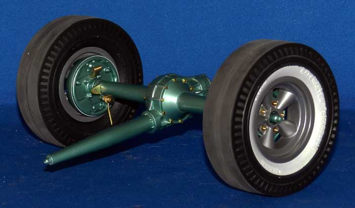 here is the rear axle with the wheels installed they can now be easily removed and replaced