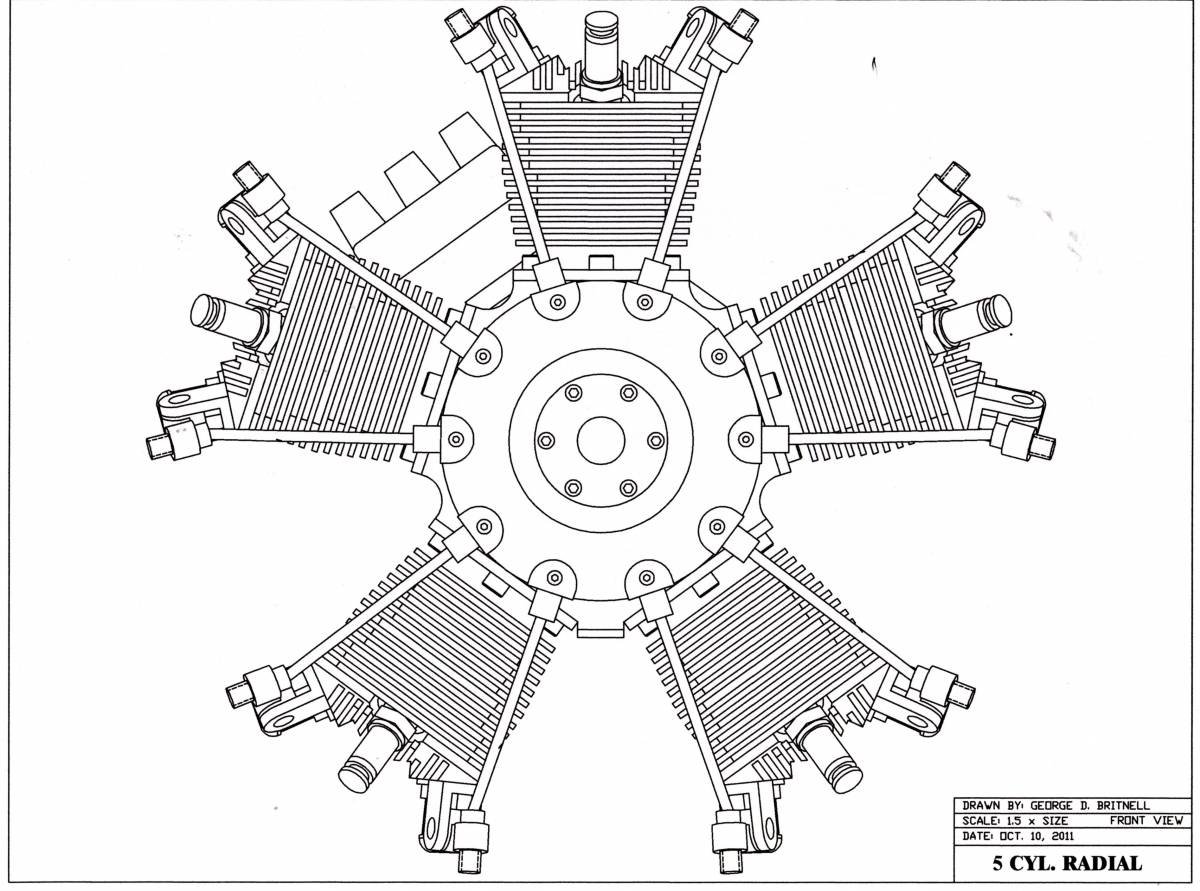 5 Cylinder radial aircraft engine